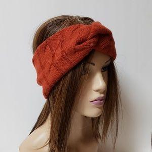 Burnt Orange Cable Knit Turban Headband, Turbans